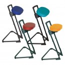 Sit Stand Stool THE STEADY with Synthetic Leather Seat, Frame Colour Black by Lotz